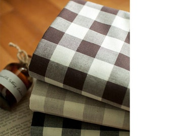 Plaid Cotton Fabric, Check Cotton Fabric, Washing Cotton, Yarn Dyed Cotton Fabric - Brown, Beige or Navy - Fabric By the Yard 83693