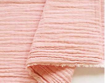 "Pink Wrinkled Cotton Gauze, Double Gauze, Pink Gauze, Crinkle Gauze, Yoryu Gauze - 59"" Wide - By the Yard 99208"