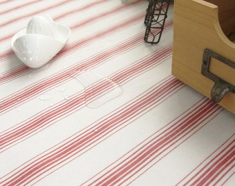 Natural Striped Red Laminated Cotton Fabric - By the Yard 90223