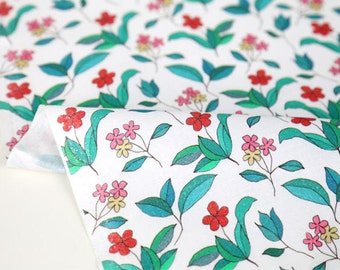Wild Flowers Cotton Fabric, Floral Fabric, White Cotton Fabric, Digital Printing - Fabric By the Yard 94350