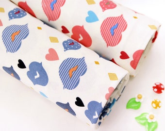 Kisses Oxford Cotton Fabric - Blue or Red - Lips, Mouth and Hearts - By the Yard 57375