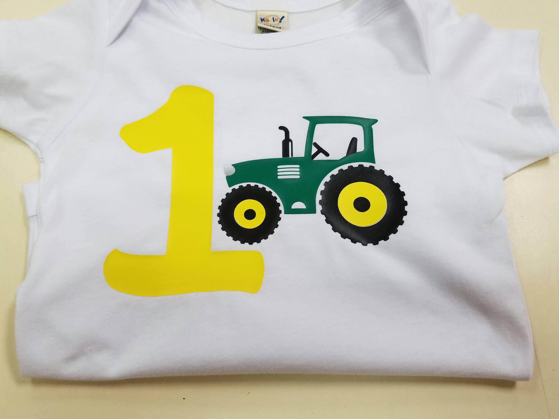 Boy Tractor Birthday Bodysuit Shirt Green Yellow 12 18 Months