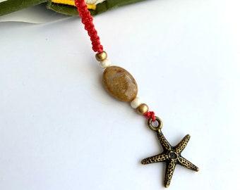 Ocean Jasper and Starfish Macramé Bookmark