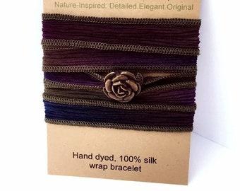 Antique Gold Rose Silk Wrap Bracelet on Purple Moss