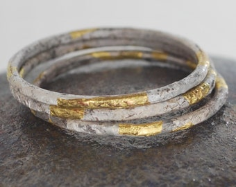 Stacking Rings // Silver & Gold Textured Rings // Keum Boo Rings // Contemporary Silver Gold Design