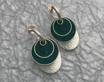 Silver Hoop Earrings//Interchangable Earrings//Turquoise and Resin//Contemporary Jewelry