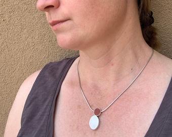 Contemporary Resin Pendant // Coral & Silver Dot Pendant // Carla Pennie McBride