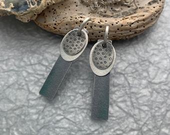Polka-dot Silver Earrings//Interchangeable Earrings//Oxidized Silver Earrings //Contemporary Jewelry