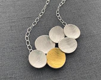 Silver Gold Pendant//Keum Boo Necklace//Contemporary Disc Pendant//Carla Pennie McBride