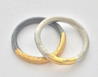 Gold and Silver Rings // keum Boo Rings // Contemporary Jewelry // Modern Silver // Handmade to Order