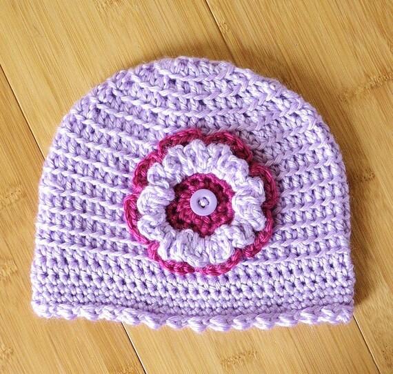 Purple bébé chapeau bonnet pour bébé fille à la main au   Etsy a4d25e1bbff