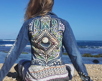 reMused up cycled denim jacket with hand painted Hamsa design