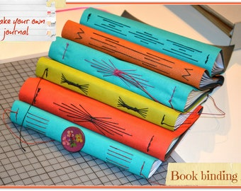 Bookbinding journal kit for medieval longstitch binding, diy book, diy journal, book making tutorial, bind my journal, diy sketchbook
