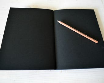 Black paper Sketchbook Art Journal, Black Artist Notebook, Hardcover journal Book with Black Pages, Small Photo book Scrapbook