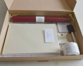 Bookbinding kit for a coptic hardcover book with 60 pages, bound with book cloth or faux leather- with instructions