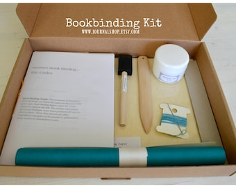 DIY book, bookbinding kit , journal kit for a hardcover journal, bound with linen thread and man made leather- with instructions of binding