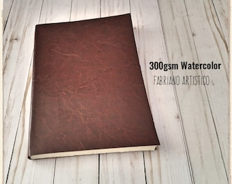 Large Watercolor Sketchbook PL Leather Journal with 140lb Fabriano Artistico Cotton , Fine Arts blank book, Travel Journal gift for artist