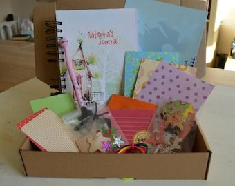 Personalized journal kit for kids, children art kit, homeschooling activity, craft kit for children, kid's diary, notebook, sketchbook