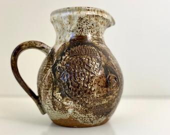 Studio Pottery Pitcher Vase with Fish design