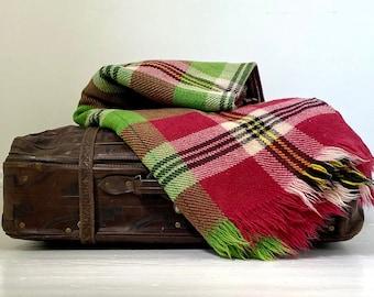 """Heavy Irish Wool Throw in Dark Raspberry and Grass Green 71"""" x 86"""""""