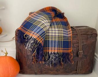 Reversible Wool Plaid in Blue and Orange