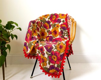 MCM Square Flax Linen Tablecloth with Pom Poms
