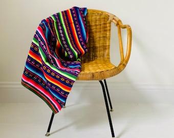 """Peruvian Textile Multicolored Tablecloth 40"""" x 45"""""""