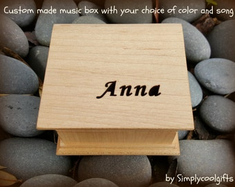 Custom Music Box - Name Engraved Gift - Personalized Box, Wooden Music Box with your name engraved, choose your song and color