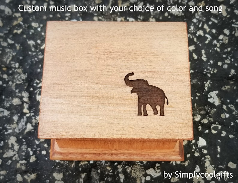 Elephant Gift Custom Music Box Wooden Music Box With An Elephant Engraved To The Top Custom Elephant Gift By Simply Cool Gifts