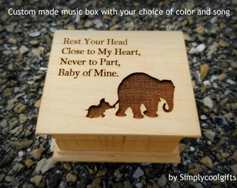 Elephant Family - Custom Music Box - Engraved Music Box  with mama and baby elephant, Baby mine, Mother's day gift, personalized music box