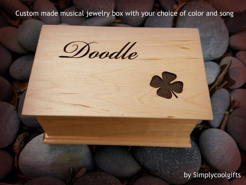 personalized music box good luck gift music box musicbox custom jewelry box clover graduation music box musical jewelry box shamrock