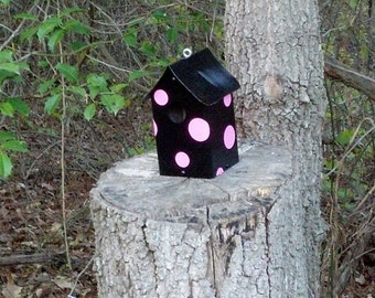 Black & Pink Polka Dots Birdhouse