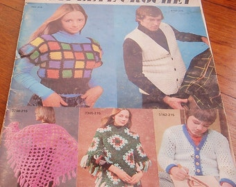 Vintage 1970s Crochet Pattern Book  Vests Sweaters Hats
