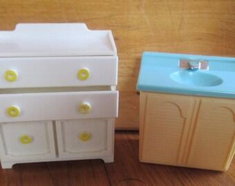 Dollhouse Bureau and Bathroom Sink  Plastic  Wolverine