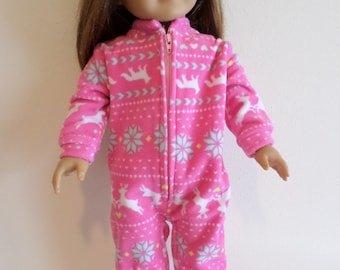 Pink fleece one piece foot sleeper American made to fit 18 inch Girl Dolls. 676c3c718
