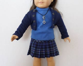 b61021a74 Blue plaid pleated skirt, top, jacket and necklace American made to fit 18  inch girl dolls.