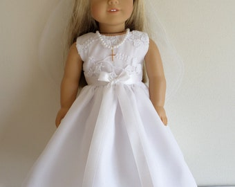 84d991ad1c5bc First Communion, Confirmation, special occasion white embroidered organza  wedding dress and veil American made to fit 18 inch Girl Dolls.