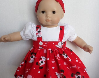 "CHRISTMAS LIGHTS /& LEAVES  DRESS /& HEADBAND- MADE TO FIT 15/""  DOLLS"