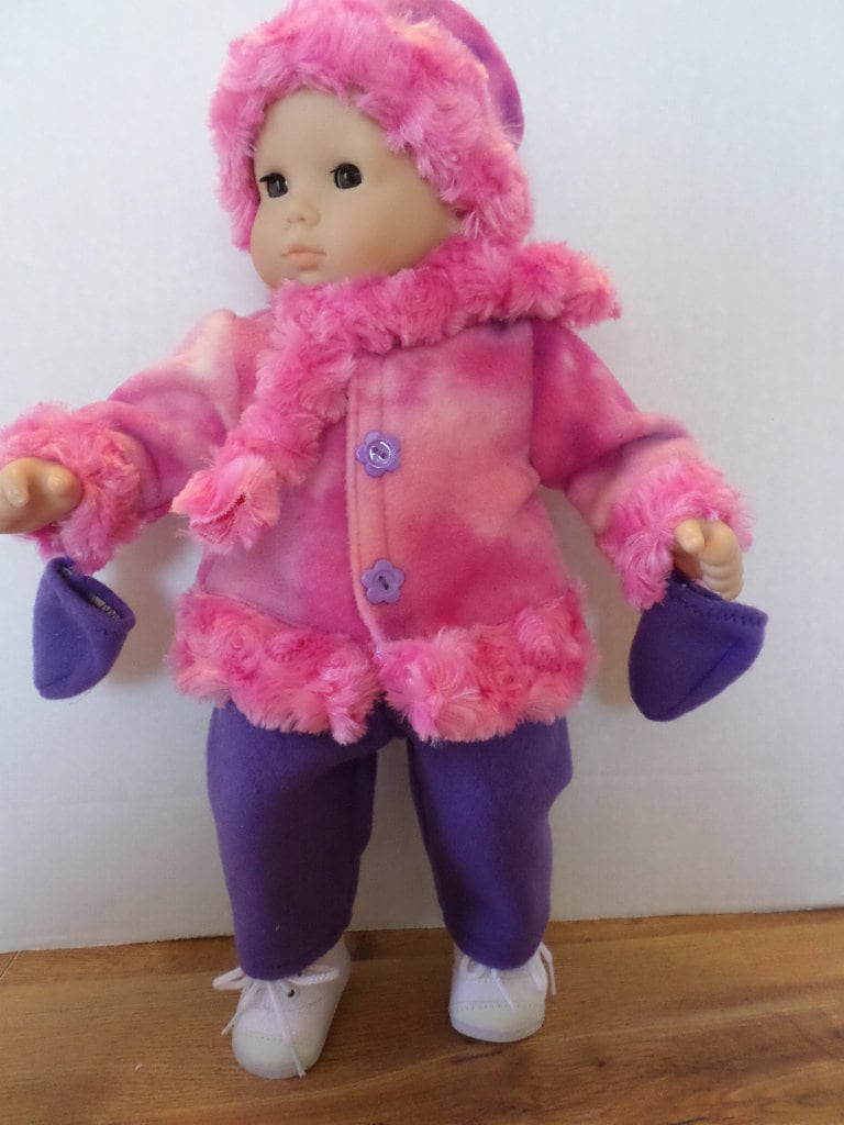 63fe57403 Purple and pink winter fleece coat hat mittens pants and