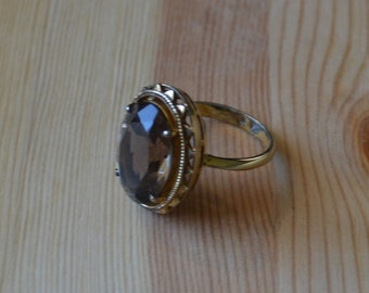 Genuine Smoky Quartz Antique Deco Style 925 Sterling Silver Ring Size 10 KN-618