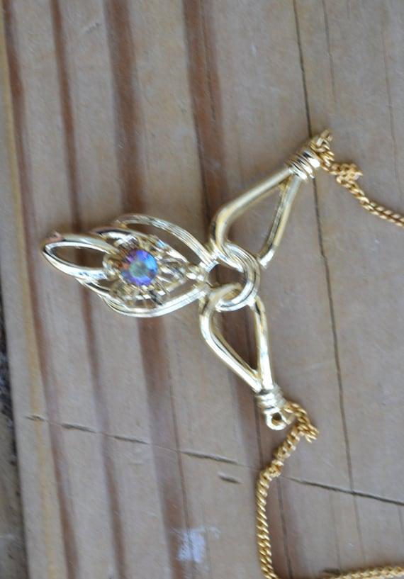 Beautiful vintage 50s gold tone festoon necklace w