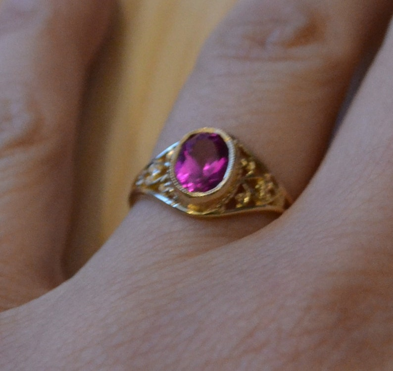 Gorgeous antique style edwardian art deco filigree 10k gold cocktail ring with ruby  ruby engagement ring  gold cocktail ring  JSVEIW
