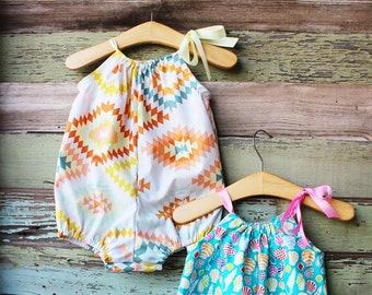 Baby girl romper, beach Sunsuit, vacation outfit, bubble romper, baby beach clothes, summer outfit, turquoise, nautical baby shower gift