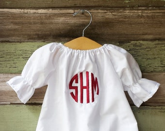 Monogrammed baby girl clothes, white dress, coming home outfit, Circle monogram, baby girl shower gift, long sleeve coming home outfit, fall