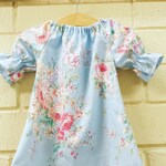 Spring Dress, Girls easter Dress, Baby Dress, floral outfit ,baby shower gift, pastel , shelby jane,  shabby chic dress, toddler, light blue