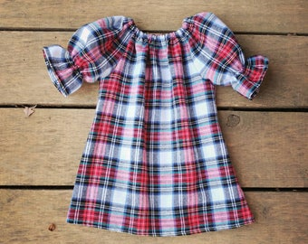 Girls plaid dress, baby girls Christmas dress, holiday dress, Christmas outfit, flannel dress, Santa outfit, babies first Christmas, winter