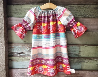 Girls Dress, boho dress, three quarter, dream catcher long sleeve peasant dress, Spring , coming home outfit, toddler, baby Fall outfit