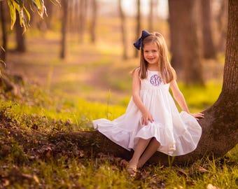 Flower Girl dress, White Flower girl dress, Rustic flower girl dress, Cotton flowergirl dress, Ivory flower girls, wedding outfit, monogram