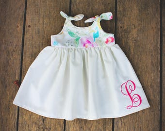 Girls dress, Monogrammed, baby Easter dress, coming home outfit, take home dress, dress with monogram, spring, knot dress, pastel dress