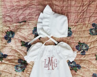 Dress with matching bonnet - Baptismal gown, coming home outfit - girls baby shower gift - fish tail monogrammed